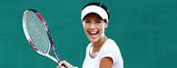 woman holding tennis racquet