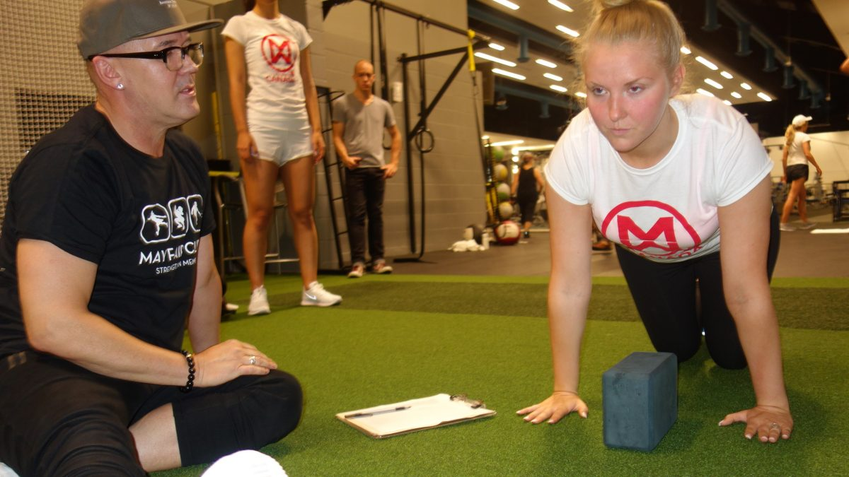 max push up test at Mayfair Clubs fitness day