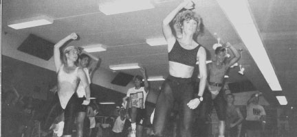 Group of females in a 1970s fitness class