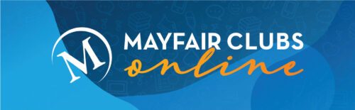 Mayfair Clubs Online logo and blue background